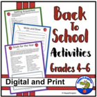 Back to School Activities Grades 4 - 6