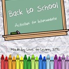 Back to School - Activities for Grades 3-5 (Intermediate)