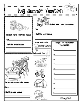Back to School Activity Booklet for 5th Grade