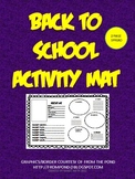 Back to School Activity Mat-Getting to Know You-2 Page Spr