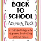 Back to School Activity Pack - 3 Ready-to-Go Activities fo