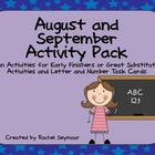 Back to School August and September Activity Pack