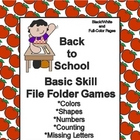 Back to School Basic Skill File Folder Games