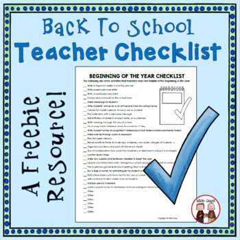 Back to School Checklist for Intermediate Grades 3-5