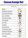 Back to School - Classroom Scavenger Hunt