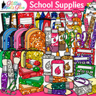 Back to School Clipart Variety Pack- Stubby Glitter School
