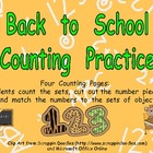 Back to School Counting Sets Independent Practice for Kind