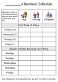 Back to School - Dismissal Forms