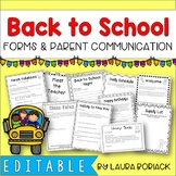 Back to School Forms & Parent Communication {EDITABLE}