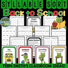 Back to School Frogs Syllable Sort Center Game for Common Core