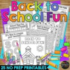 Back to School Fun Packet Mystery Messages, Crossword Puzz