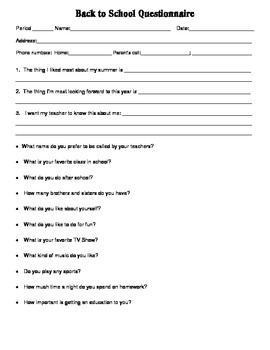 Back to School Goals Questionaire