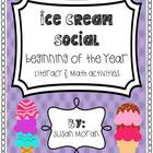 Back to School {Ice Cream Social!} - Literacy & Math Activities