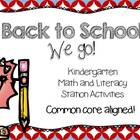 Back to School {Kindergarten Common Core Stations}