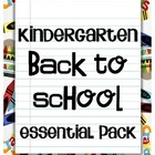 Back to School Kindergarten Essential Pack