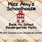 Back to School Kindergarten Math