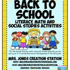 Back to School Literacy, Math and S.S. Activities