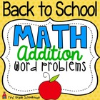 Back to School Math Addition Story Problems