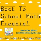 Back to School Math Freebie!!