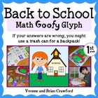 Back to School Math Goofy Glyph (1st grade Common Core)