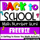 Back to School Math Number Hunt
