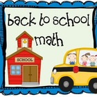 Back to School Math Unit 1st Grade