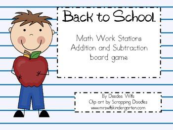 Back to School Math Work Stations Addition and Subtraction