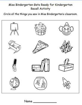 Back to School - Miss Bindergarten Comprehension