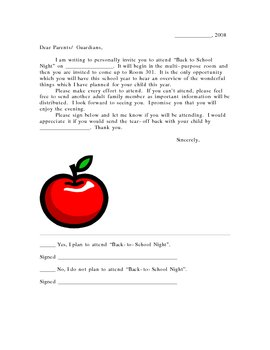 Back to School Night Invitation Letter/Response