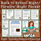 Back to School Night Packet (Parent Handout and Tips)
