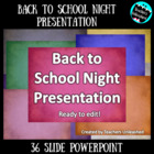 Back to School Night Presentation