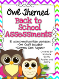 Back to School Kindergarten Assessment (Owl Themed)