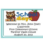 Back to School Owl Theme Open House, Parent Night Power Po