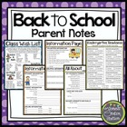 Back to School Parent Notes