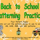 Back to School Pattern Independent Practice for Kindergart