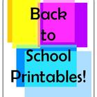 Back to School Printables and Activities