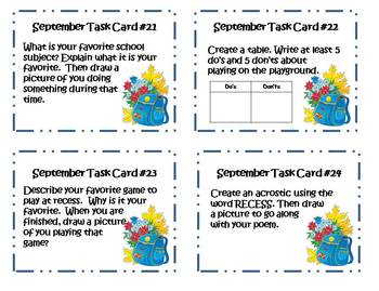 Back to School September Writing Task Cards