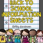 Back to School- Student Information Sheet (K,1,2,3,4,5)