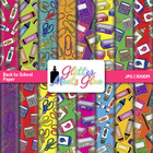 Back to School Supplies Digital Scrapbook Paper Clipart W/