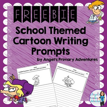 Back to School Themed Cartoon Writing Prompts Freebie