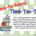 Back to School Tic Tac Toe Choice Board