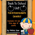 Back to School Unit {Intermediate Grades 3-6}