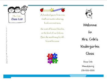 Back to School Welcome Brochure for Parents