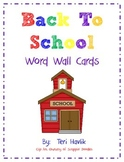 Back to School Word Wall Activity Pack
