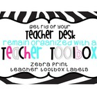 Back to School - Zebra Print Teacher Tookit or Toolbox Labels