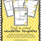 Back to school weekly newsletter and homework templates fo