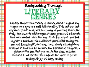 Backpacking Through Literary Genres