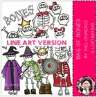 Bag of bones LINE ART bundle by melonheadz