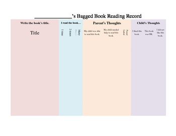 Bagged Book Reading Record