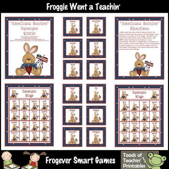 Balanced Literacy Center -- Americana Bunnies (Synonyms Bingo)
